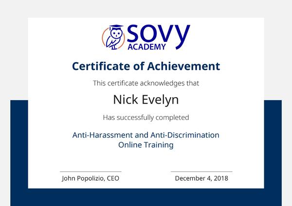 Anti-Harassment and Anti-Discrimination Online Training