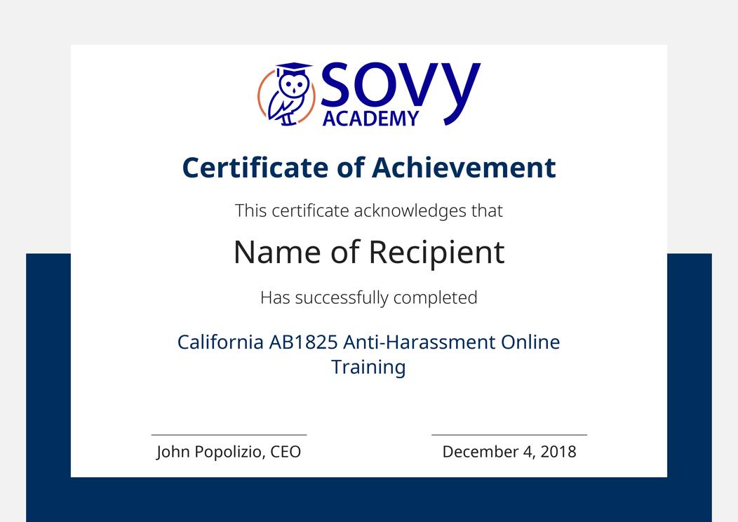 AB1825 California Harassment